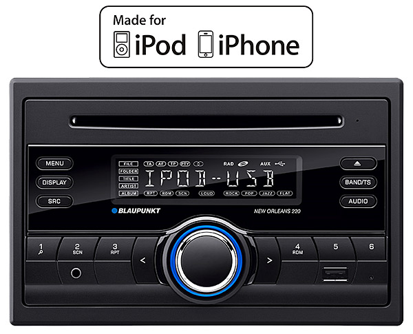 blaupunkt new orleans 220 in car radio double din with ipod control cd player usb mp3 and aux. Black Bedroom Furniture Sets. Home Design Ideas