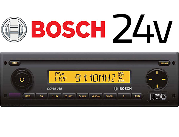 bosch dover usb40 multimedia 24v stereo radio for bus lorry trucks with aux input and usb in. Black Bedroom Furniture Sets. Home Design Ideas
