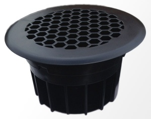 Circular floor vent for vans - Black plastic