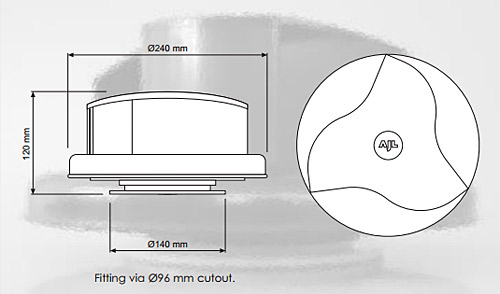 Rotarty Van Roof vent dimensions
