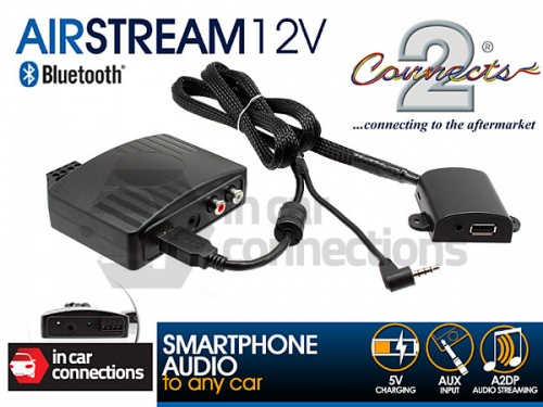 Connects2 Bluetooth Streaming Adapter via AUX with USB charging AIRSTREAM12V