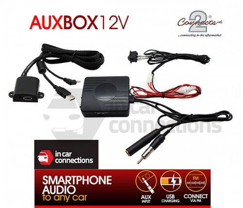 Connects2 Wired FM Modulator with USB charging AUXBOX12V