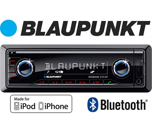 Blaupunkt Brisbane 270 BT in car radio with Bluetooth USB MP3 AUX inputs, Controls iPod and iPhone
