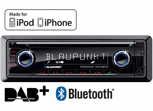 Blaupunkt Stockholm 370 DAB BT in car radio Bluetooth ready with CD AUX USB input and iPod iPhone music control