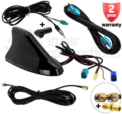 Shark Fin roof mount car aerial KIT - DAB AM FM and GPS car antenna CT27UV83 - PLUS cables