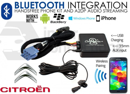 CTACTBT001 Citroen Bluetooth adapter for streaming and hands free calls for RD3 radios