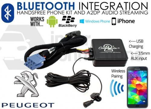 Peugeot Bluetooth adapter for streaming and hands free calls CTAPGBT010 RD3 radios