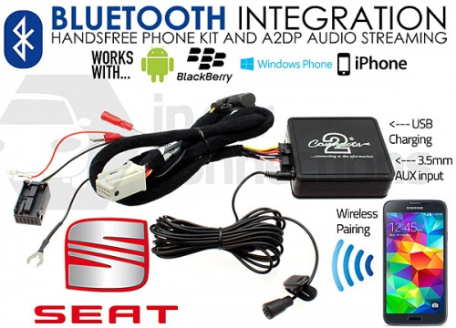 Seat Bluetooth adapter for streaming and hands free calls CTASTBT002 Quadlock
