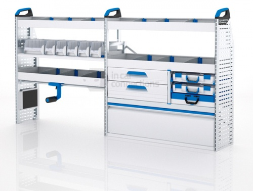 Sortimo Xpress TPLOS3 Van Racking for VW Volkswagen Transporter T5, Long Wheel Base - Driver Side Option 3
