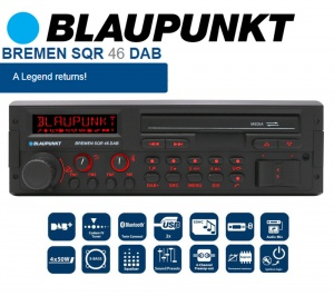 Blaupunkt Bremen SQR 46 DAB retro car radio with Bluetooth DAB USB MP3 AUX inputs