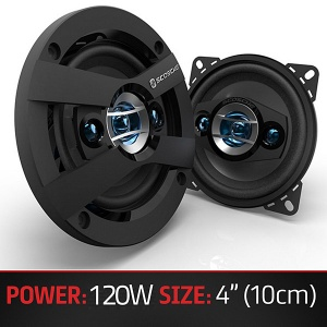 Scosche HD4004 4'' inch 10cm 100mm in car speakers 3 way triaxial 120W