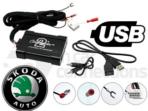 Skoda USB adapter CTASKUSB003 for Skoda Octavia Fabia Roomster Superb and Yeti with Quadlock 2005 onwards