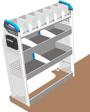 Sortimo pre-built van racking module - T1 Version 1A - Near Side