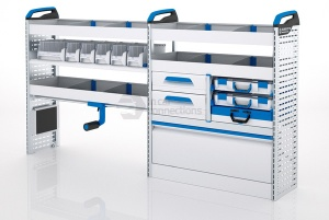 Sortimo Xpress TCLOS3 Racking for Ford Transit Custom, Long Wheel Base - Driver Side Option 3