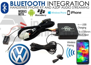 VW Bluetooth adapter for streaming and hands free calls 2006 onwards CTAVGBT009 Quadlock