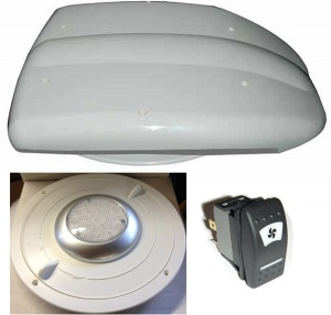 Low profile motorised van ventilator for vans plus inner valve with light