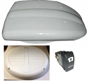 Low profile motorised van ventilator for vans with white inner valve
